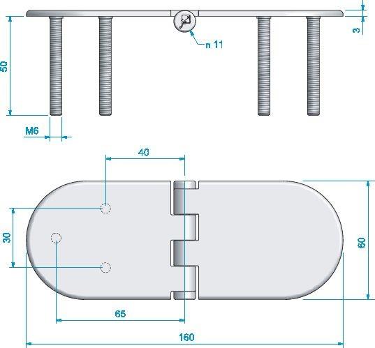 Scharnier rostfrei 160x60mm Bolzen
