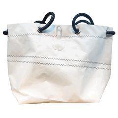 Segeltuch-Tasche mit Ösenverschluß weiß 14l